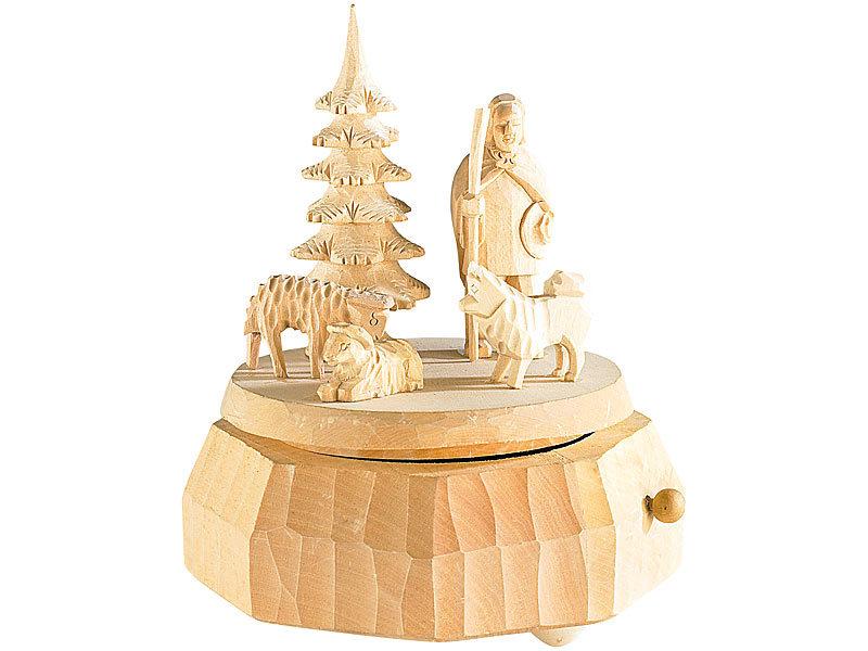 infactory Holz-Spieluhr mit Schäfer-Motiv \