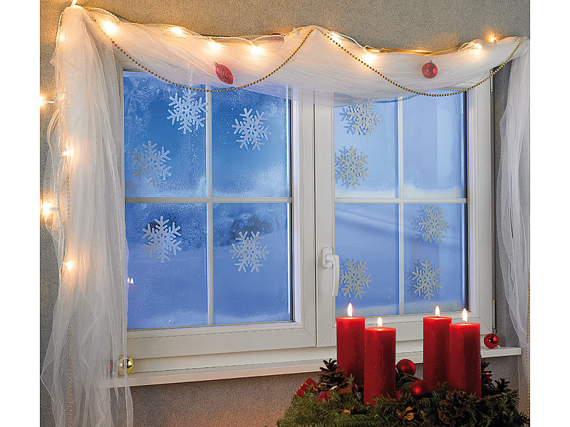 Infactory schneeflocken fensterdeko glow in the dark 10er set - Fensterdeko winter ...