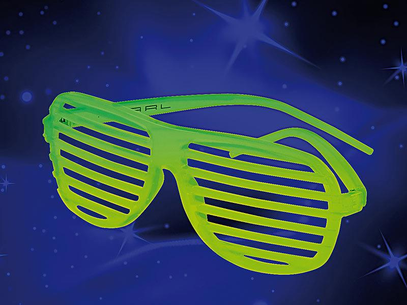 Nachleuchtende Partybrille mit Lamellen, Glow-in-the-dark