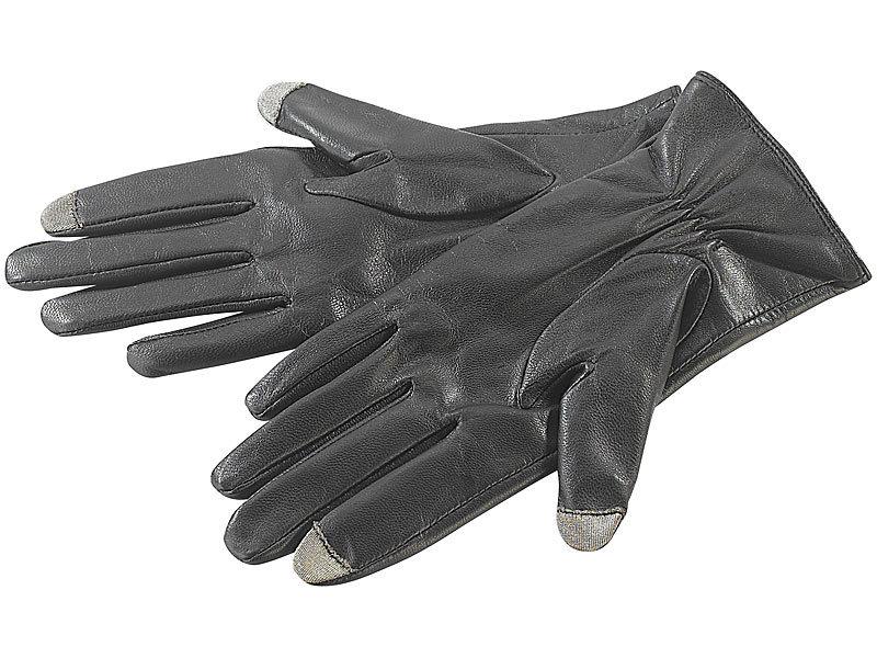 PEARL urban Lederhandschuh: Touchscreen Handschuhe