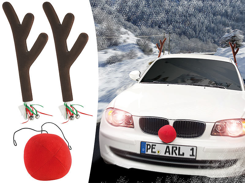 infactory Rentiergeweih Auto: Rentier-Verkleidung für Ihr Auto mit ...