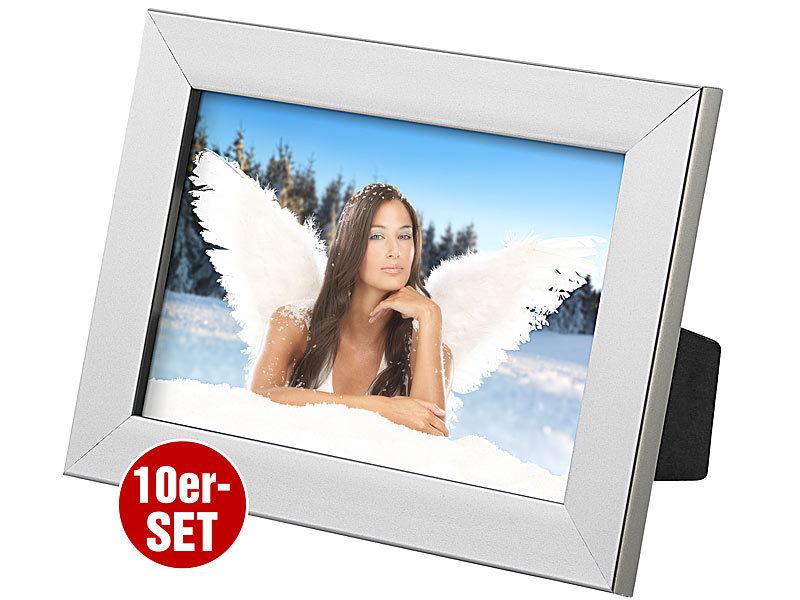 your design 10er set bilderrahmen f r fotos mit 10 x 15 cm silber. Black Bedroom Furniture Sets. Home Design Ideas