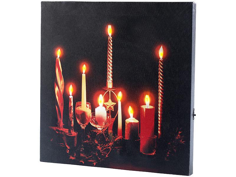 Infactory Led Leinwandbild Advent Mit Kerzenflackern Fernbenung Kerzen Wandbilder