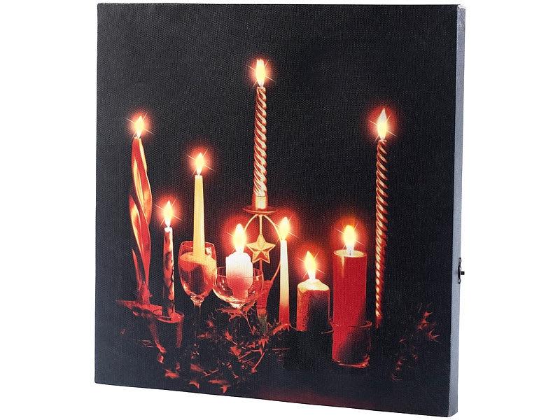 infactory led kerzen wandbilder led leinwandbild advent. Black Bedroom Furniture Sets. Home Design Ideas