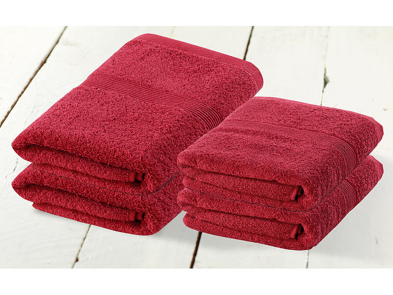 wilson gabor wellness handt cher handtuch set 2x 50x100 cm 2x 140x70 cm rot cutton towels. Black Bedroom Furniture Sets. Home Design Ideas