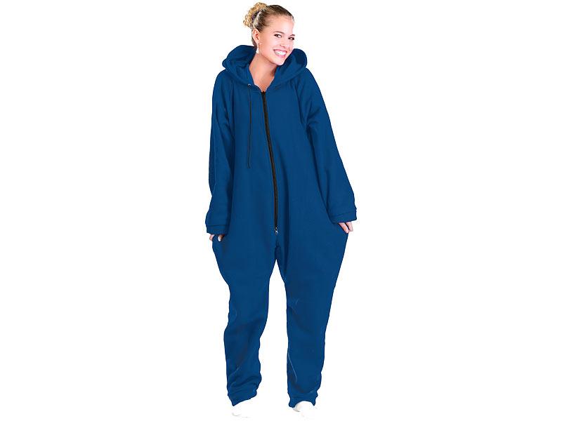 712f233e59af68 Einteiler Schlafanzug: PEARL Jumpsuit aus flauschigem Fleece, blau, Größe  XXL Bild 1