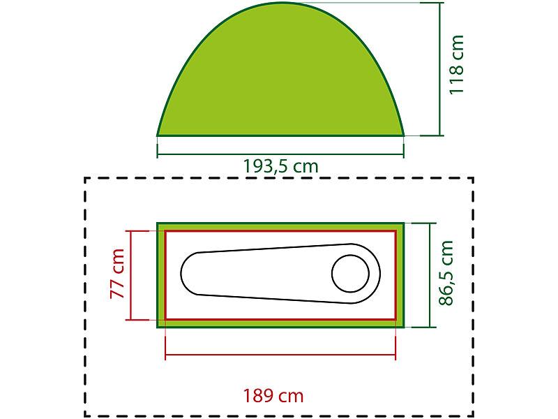 semptec camping bett 4in1 zelt inklusive schlafsack matratze campingliege wasserdicht zelt. Black Bedroom Furniture Sets. Home Design Ideas
