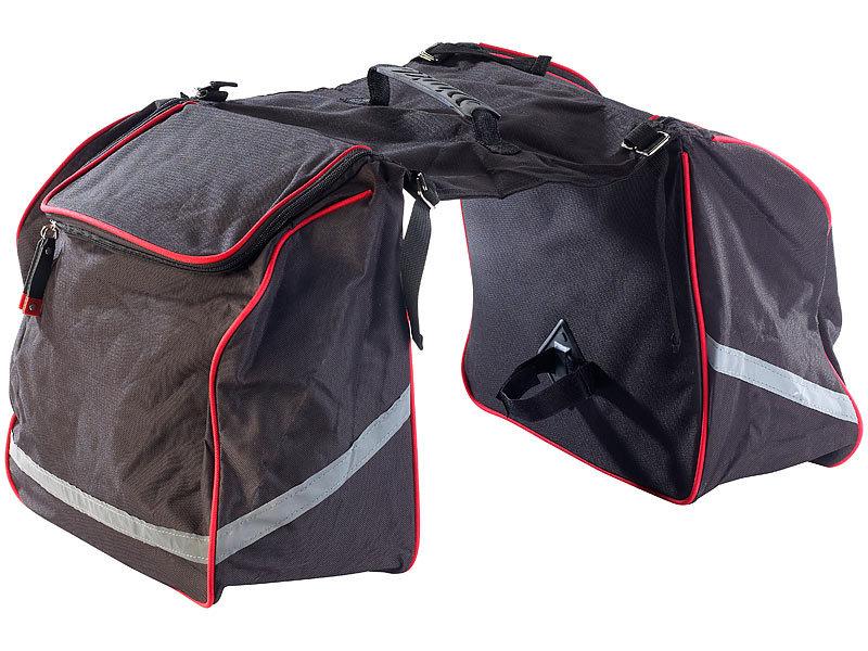Doppel-Gepäckträgertasche, wasserabweisend, mit Reflektions-Streifen