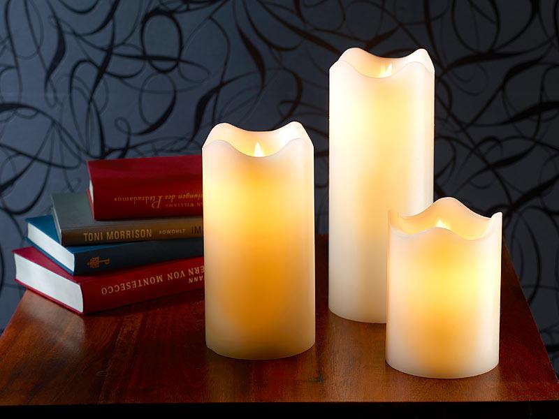 britesta echtwachskerzen mit beweglicher led flamme 3er set. Black Bedroom Furniture Sets. Home Design Ideas