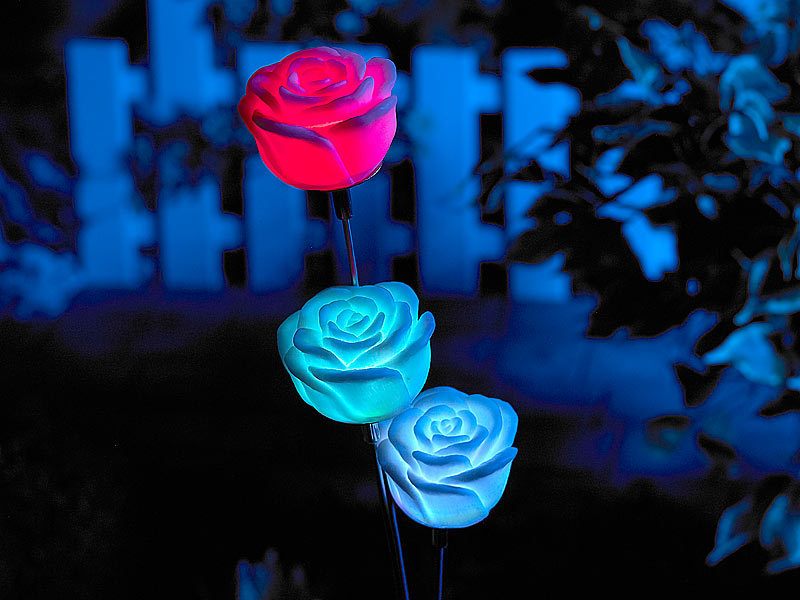 lunartec solar led gartendeko regenbogen rose mit farbwechsel led. Black Bedroom Furniture Sets. Home Design Ideas