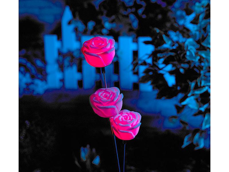Lunartec Solar Led Gartendeko Regenbogen Rose Mit