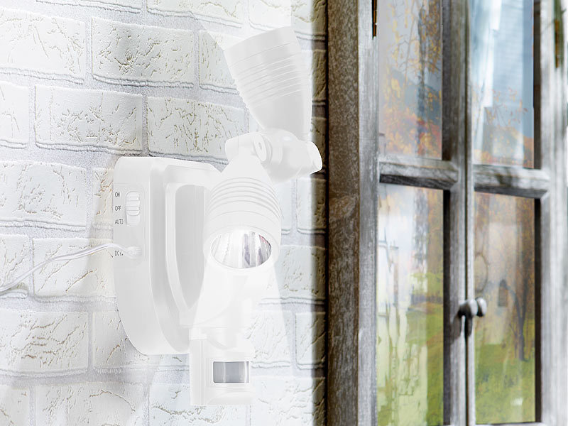 lunartec duo solar au en wand strahler cree leds 3 watt 250 lm pir wei. Black Bedroom Furniture Sets. Home Design Ideas