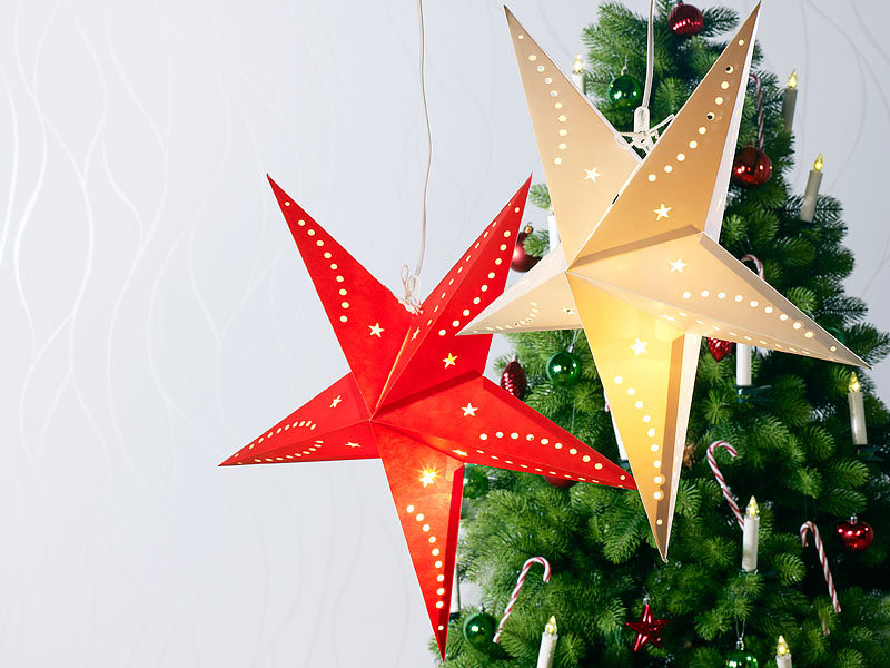 lunartec papierstern lampe 3d weihnachtsstern lampe stern aus papier 60 cm rot fensterstern. Black Bedroom Furniture Sets. Home Design Ideas