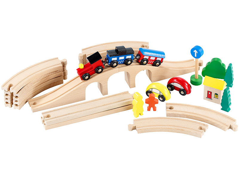 Playtastic mittelgroßes holz eisenbahn set mit teilen