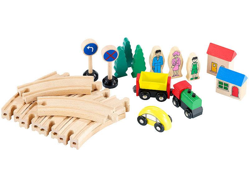 playtastic holzeisenbahn kleines holz eisenbahn set mit 25 teilen modelleisenbahn. Black Bedroom Furniture Sets. Home Design Ideas