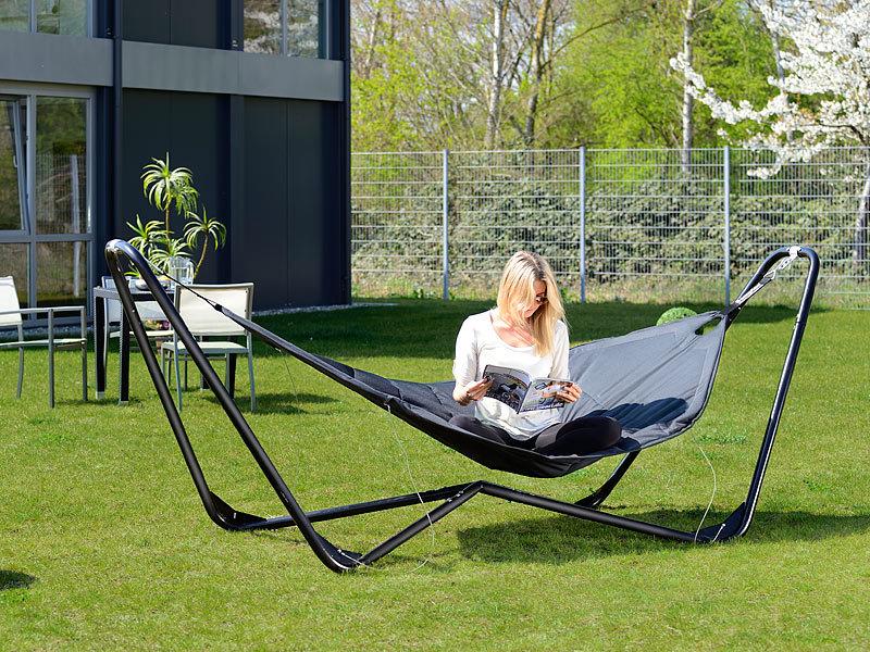 semptec luxus h ngematte mit metallst nder gepolstert. Black Bedroom Furniture Sets. Home Design Ideas