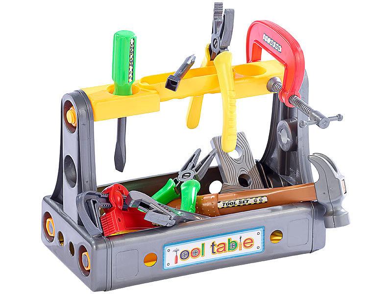 playtastic spielzeug werkbank werkzeugkoffer mit mini werkbank h he 36 cm 39 teile spielzeug. Black Bedroom Furniture Sets. Home Design Ideas