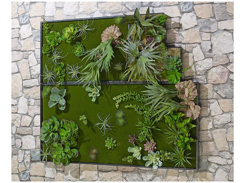 carlo milano vertikaler wandgarten lisa mit deko pflanzen 3er set. Black Bedroom Furniture Sets. Home Design Ideas