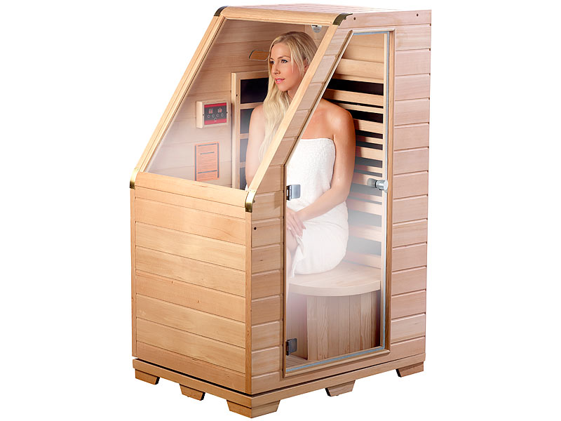 newgen medicals sauna kompakte infrarot sitzsauna aus hemlock holz 760 w 0 62 m sitzsauna. Black Bedroom Furniture Sets. Home Design Ideas