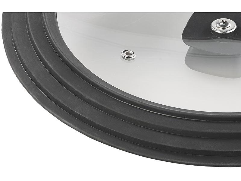 rosenstein s hne universaldeckel universal silikonrand glasdeckel f r t pfe pfannen mit. Black Bedroom Furniture Sets. Home Design Ideas