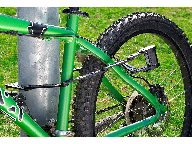 Semptec Schloss: Fahrrad- & Motorrad-Faltschloss mit Rahmenhalterung ...