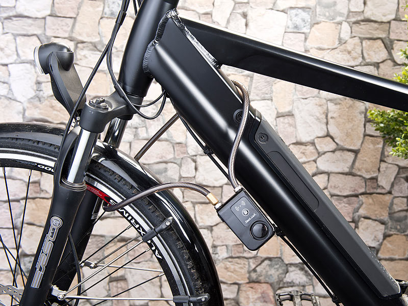 semptec fahrradalarm app gesteuertes kabelschloss bluetooth alarm f r fahrrad t r u v m. Black Bedroom Furniture Sets. Home Design Ideas