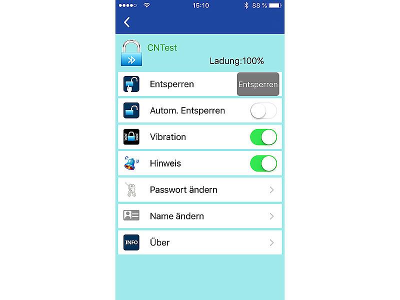 Semptec Fahrradschloss mit Alarm: App-gesteuertes Kabelschloss