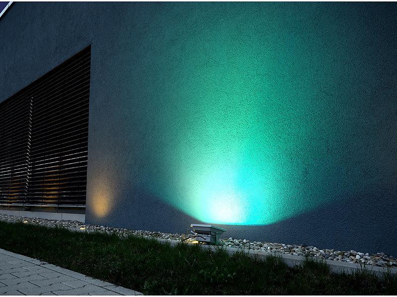 luminea led fluter fernbedienung wetterfester led fluter rgb metallgeh use 30 w ip65. Black Bedroom Furniture Sets. Home Design Ideas