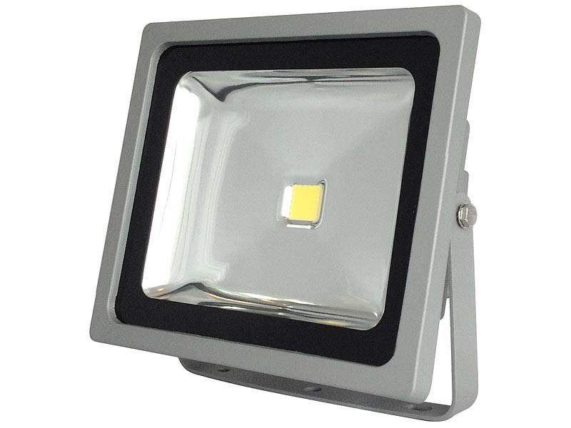 luminea wetterfester led fluter im metallgeh use 50 w ip65 warmwei. Black Bedroom Furniture Sets. Home Design Ideas
