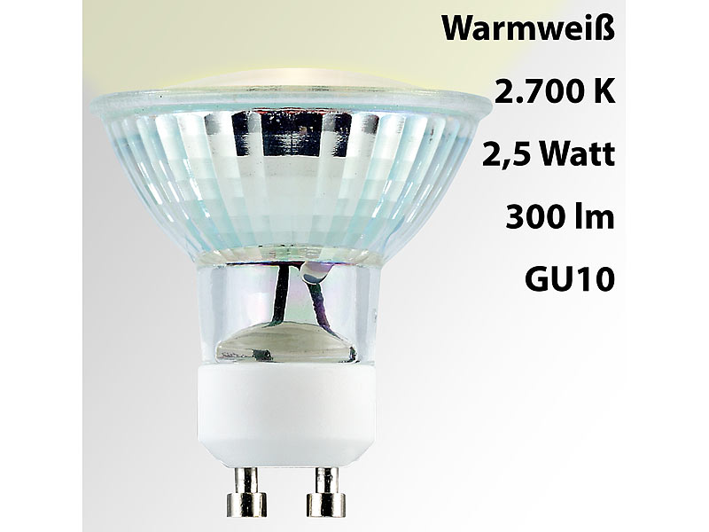 luminea led spotlight glasgeh use gu10 2 5 watt 230 v 300 lm warmwei. Black Bedroom Furniture Sets. Home Design Ideas