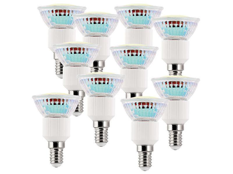 luminea led spot sockel e14 3 watt warmwei 3000 k 250 lumen 10er set. Black Bedroom Furniture Sets. Home Design Ideas