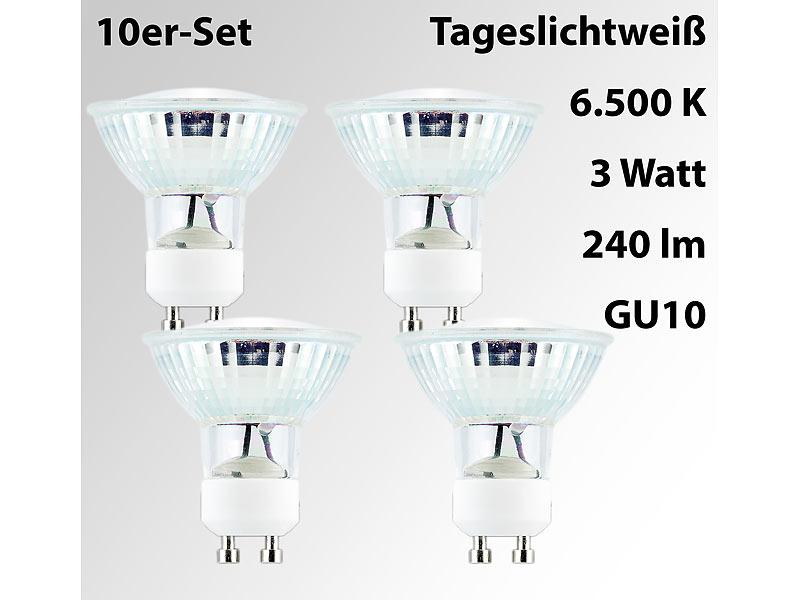 luminea led birnen gu10 led spotlight m glasgeh use gu10 3 w 230v 240 lm 6500 k 4er set. Black Bedroom Furniture Sets. Home Design Ideas