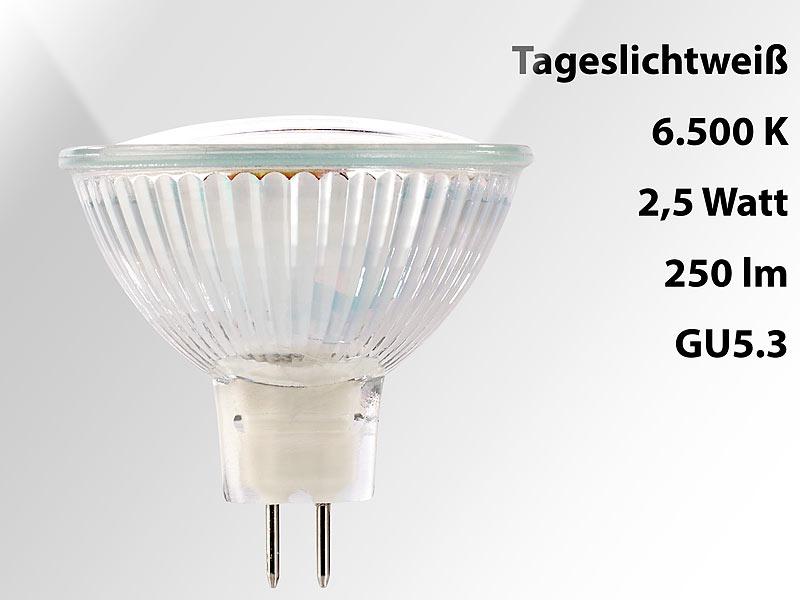 Luminea LED-Leuchtmittel Gu5.3: LED-Spotlight mit Glasgehäuse, GU5.3 ...
