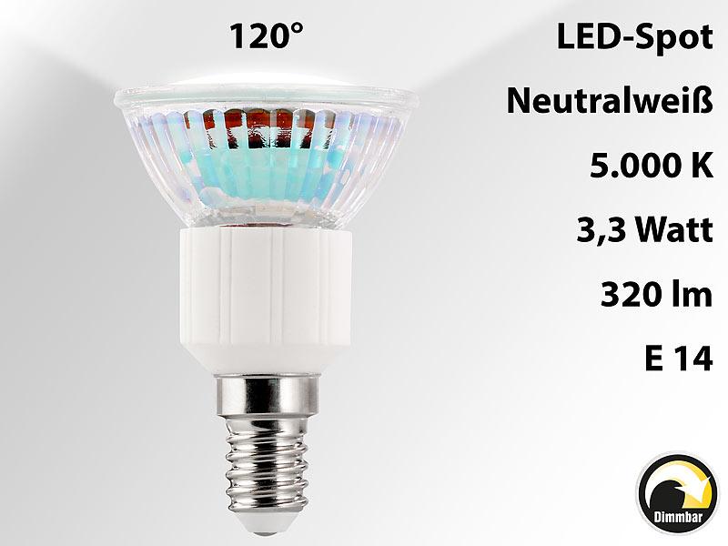 luminea led spot dimmbar e14 60 leds 3 3 watt wei 320 lm 120 4er set. Black Bedroom Furniture Sets. Home Design Ideas
