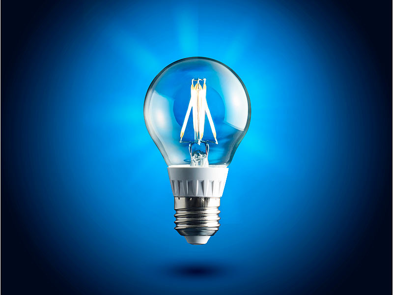 luminea led gl hlampe mit hightech filament leds 3 6 watt. Black Bedroom Furniture Sets. Home Design Ideas