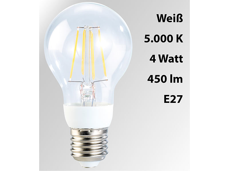 Luminea LED-Filament-Birne, 4 Watt, E27, 5000 K, 450 Lumen, 360°, weiß