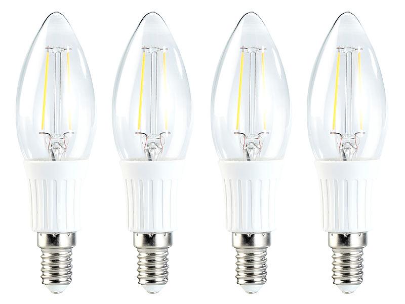 luminea fadenkerzen e14 led filament kerze 2w e14 warmwei 200 lm 360 4er set led. Black Bedroom Furniture Sets. Home Design Ideas