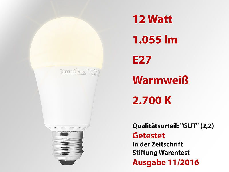 Luminea LED Tropfen E27 warmweiß: LED-Lampe, Klasse A+, 12 W, E27 ...