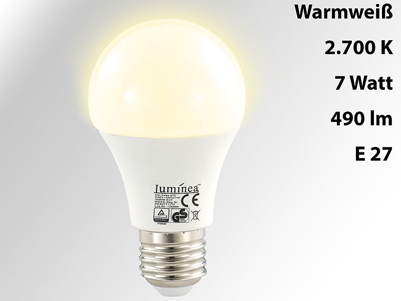 Luminea Leuchtende LED Lampen: LED Lampe, 7W, E27, Warmweiß, 2700K, 480 Lm,  180°, 10 Er Set