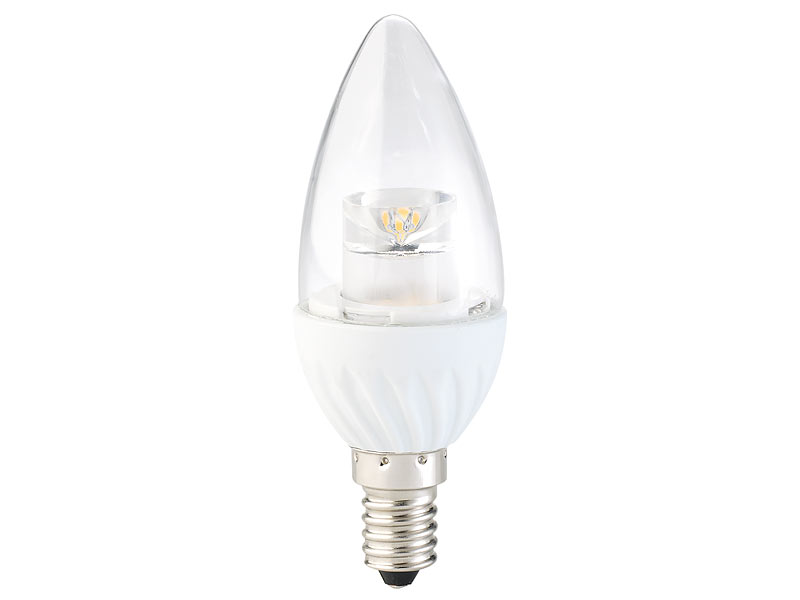 Luminea led lampe e14 kaltlicht: klare led kerze e14 4 w 300 lm