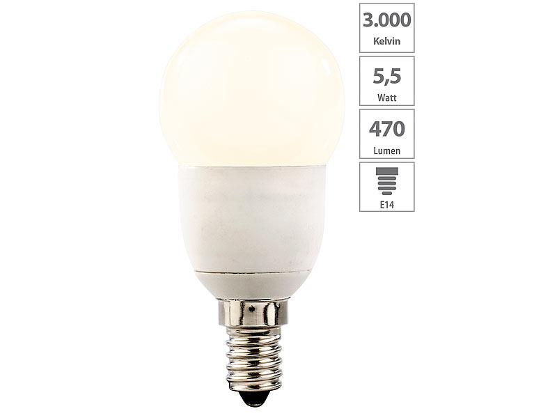 LED Lampe, Warmweiss: Luminea LED Tropfen, E14, 5,5