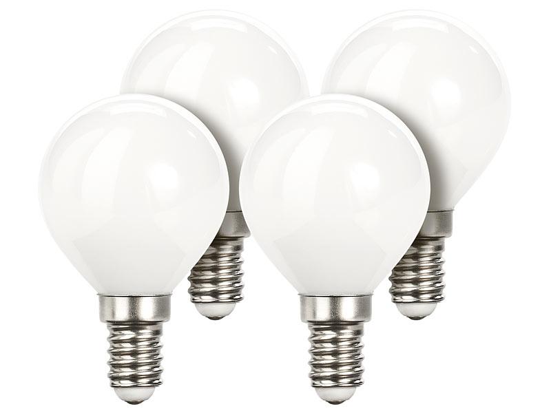 warmweiß 4er-Set LED E 14: LED-Kerzenlampe B35 E14 3 W 250 lm