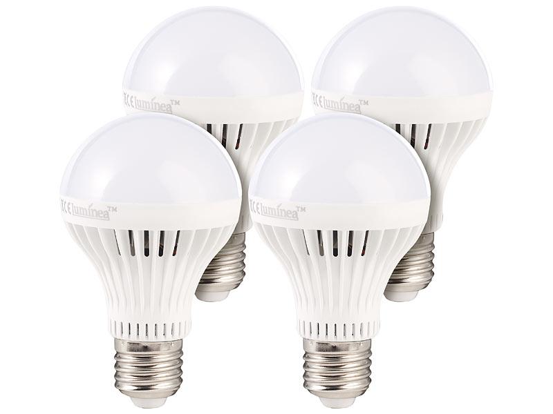 Nice Luminea LED Lampe E27, 7 W, Dimmbar, Tageslichtweiß 5400 K, 490 Lm, 4er Set