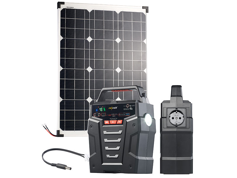 revolt solaranlage solar generator powerbank mit 50 w. Black Bedroom Furniture Sets. Home Design Ideas