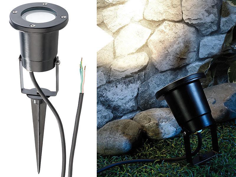 luminea einflammiger bodenstrahler in schwarz gu10 ip67 1 5m kabel. Black Bedroom Furniture Sets. Home Design Ideas