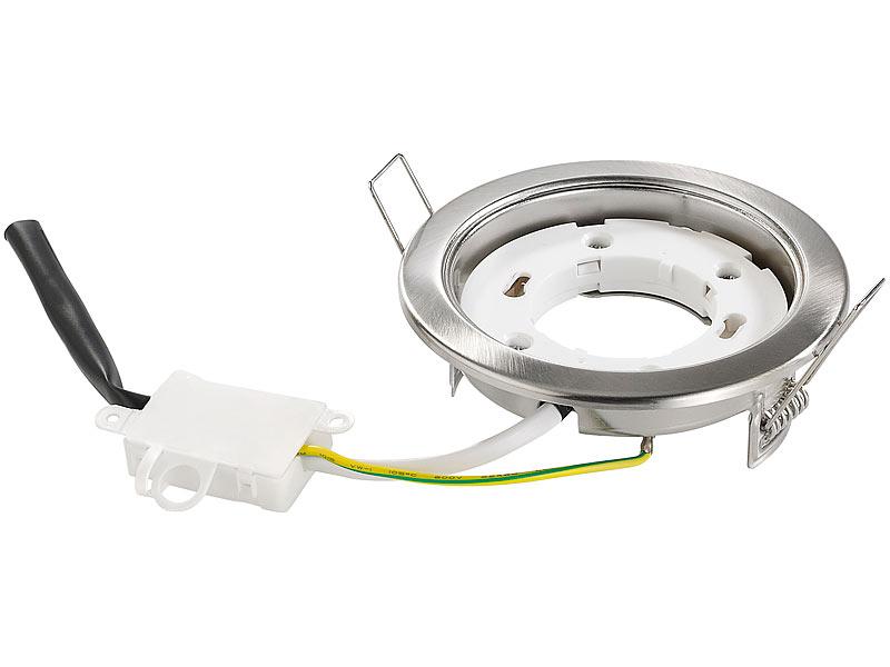 Funksockel: Luminea Einbaufassung GX53, Nickel Gebürstet, Ohne Leuchtmittel  Bild 1