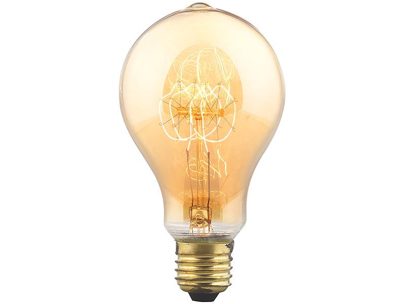 Kohle-Filament-Lampe E27: 2 Vintage-Schmucklampen mit ...