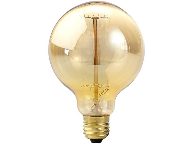 Luminea Retro Glühbirne E27: Vintage Schmucklampe in Globe