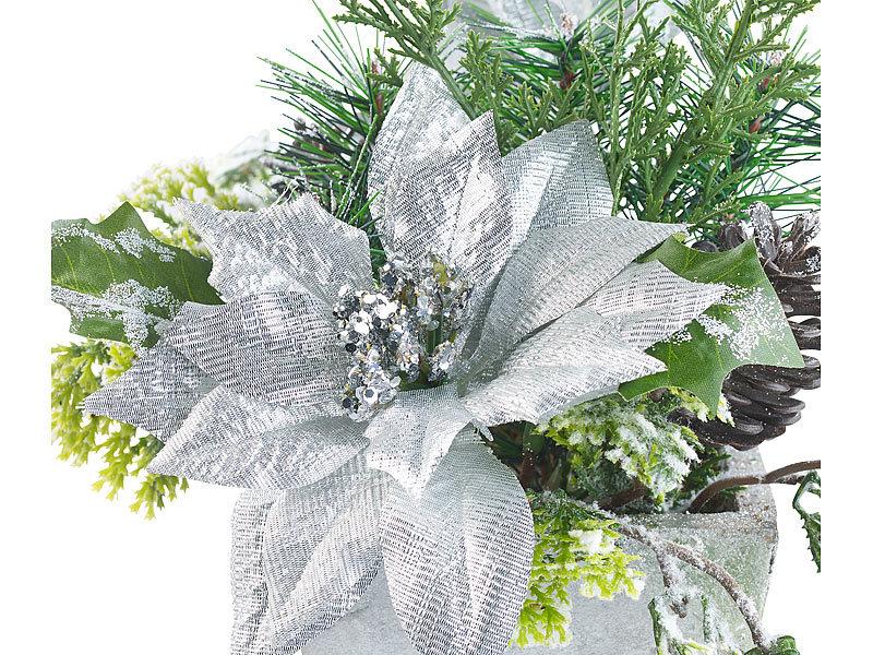 infactory deko pflanze weihnachts gesteck mit blumen zweigen zapfen und kunst schnee 22 cm. Black Bedroom Furniture Sets. Home Design Ideas