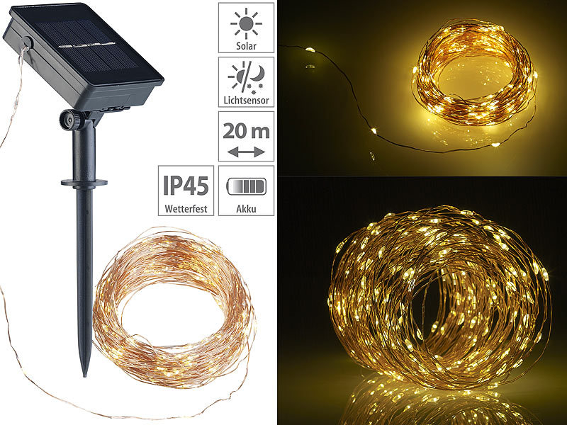 Pearl Weihnachtsbeleuchtung.Lunartec Solar Lichtkette Solar Lichterkette Aus Kupferdraht 200